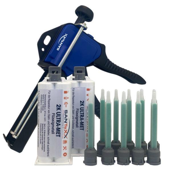 2 Kartuschen Flüssigmetall-santexx-50ml-mit-Pistole und 10 Mischdüsen