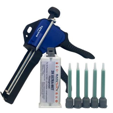 1 Kartusche Flüssigmetall-santexx-50ml-mit-Pistole und 5 Mischdüsen