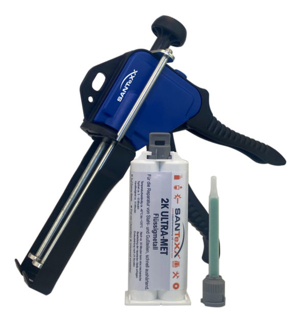 1 Kartusche Flüssigmetall-santexx-50ml-mit-Pistole und 1 Mischdüse